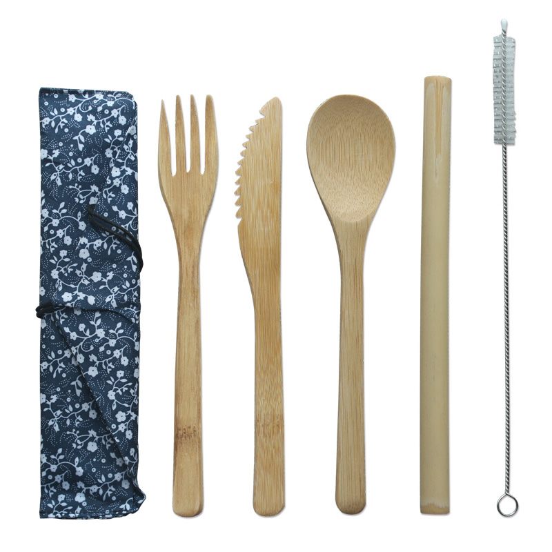 Wholesale eco wooden flatware travel reusable bamboo cutlery set with bag