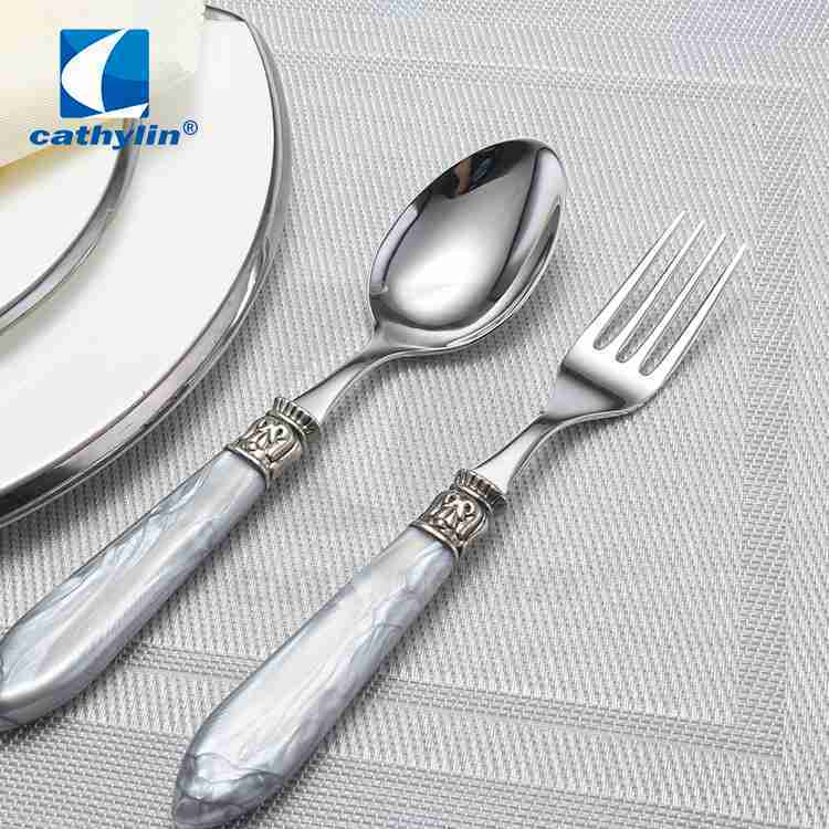 Cathylin hotel acrylic handle marble stainless steel cutlery set, cheap flatware 18/10
