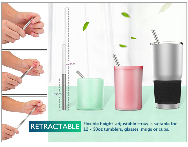Eco friendly reusable metal stainless steel collapsible drinking straw set with case and bottle opener