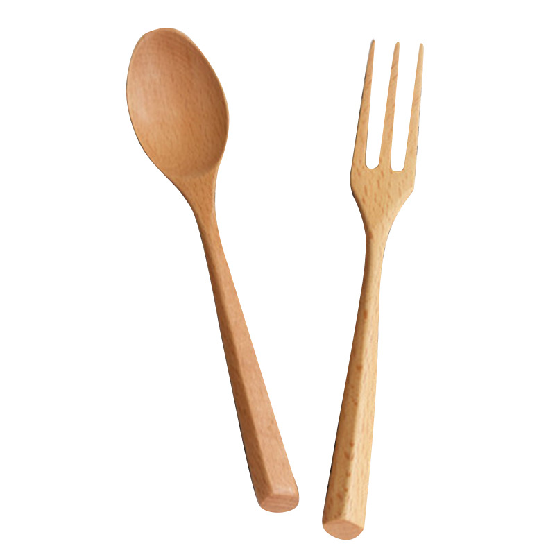 Reusable natural wood flatware wooden spoon and fork set for fruit desserts