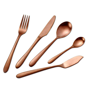 Cathylin 5pcs luxury gift flatware 18/10 stainless steel rose gold plated set wedding cutlery