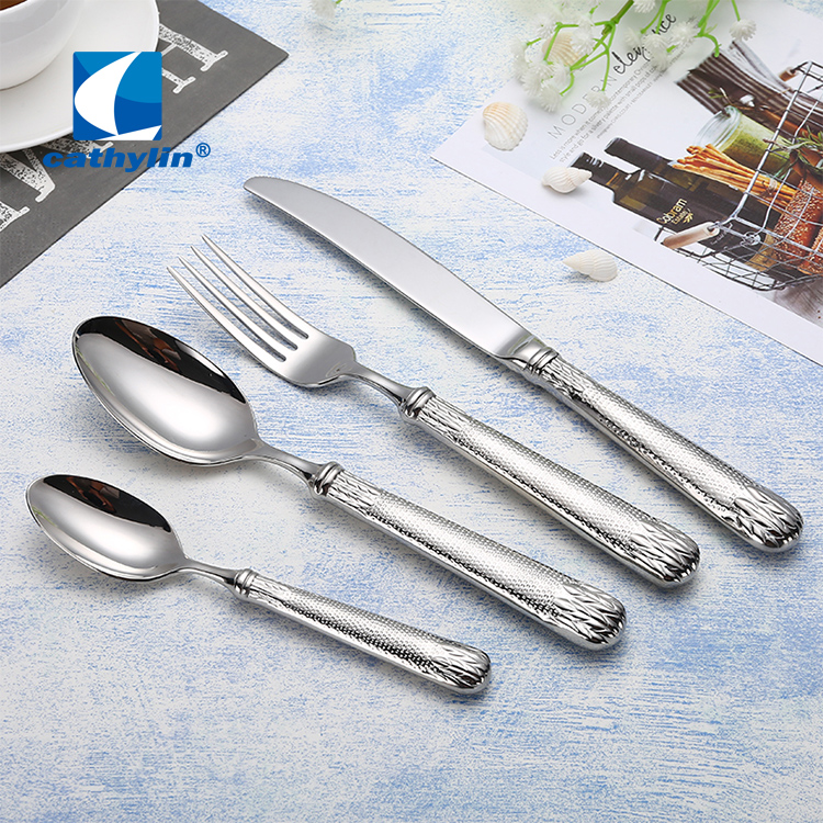 Cathylin High Grade Flatware Wedding Hotel Events Stainless Steel Sliver Cutlery Set