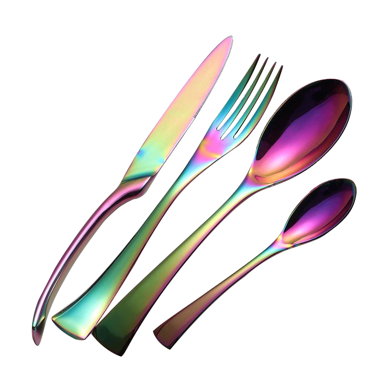 Cathylin royal wedding hotel 18/10 stainless steel gold brushed thai flatware set matte gold plated cutlery