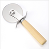 Wholesale wood stainless steel wheel blade cheese slicer pizza cutter with wooden handle