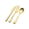 Ready to ShipIn Stock Fast Dispatch Disposable flatware silverware gold ps plastic spoons forks and knives cutlery kit with color box