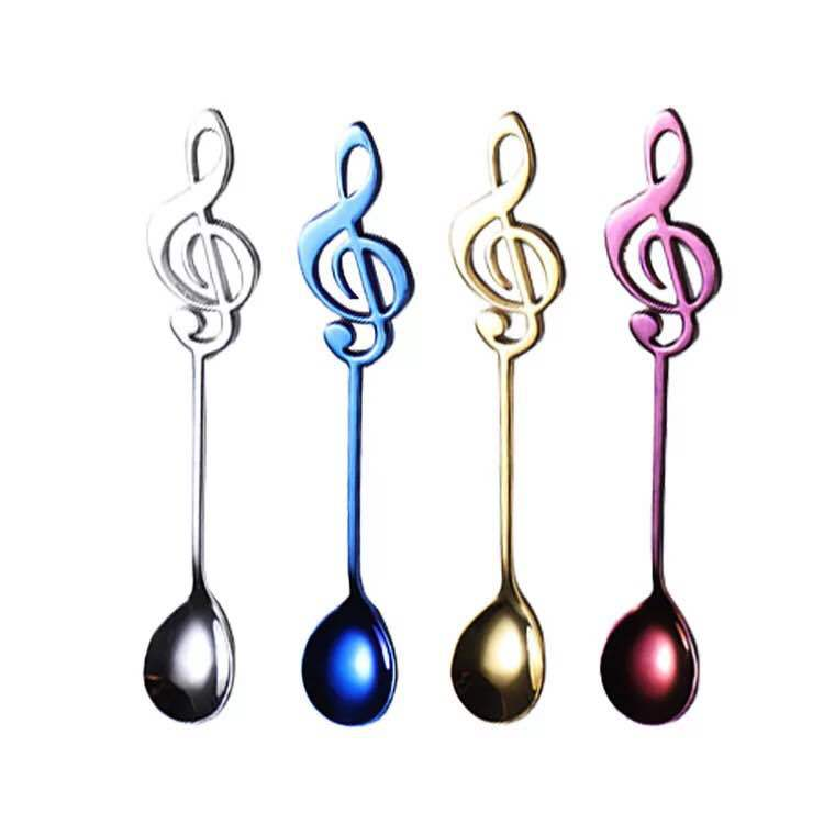 Colorful metal silverware mini 304 stainless steel tea sugar coffee stirring spoon with music note style head