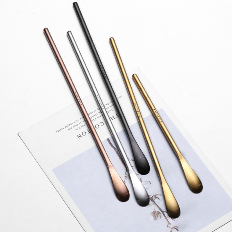 Japanese unique 304 stainless steel PVD inox sugar stirring gift spoon long handle narrow dessert coffee scoop