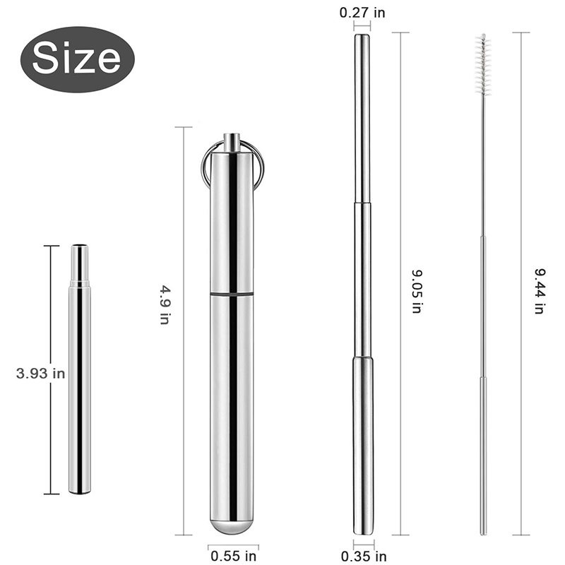 Hot-sale portable stainless steel foldable drinking metal straw set reusable collapsible straw