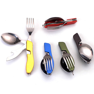 Stainless steel metal titanium foldable collapsable camping outdoor travel folding spork knife spoon fork bottle can opener